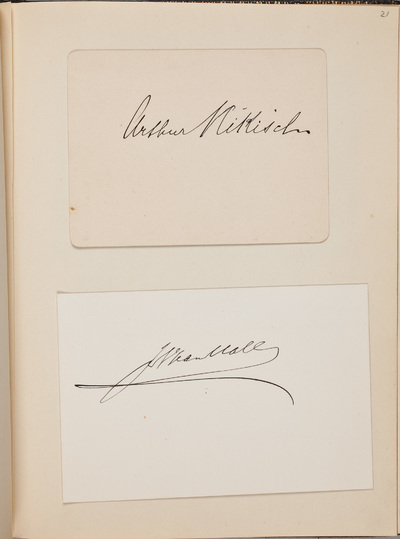 Inscriptie / van Nikisch, Arthur (1855-1922), dirigent, voor Louise Westermann-Heinze (1837-1929)