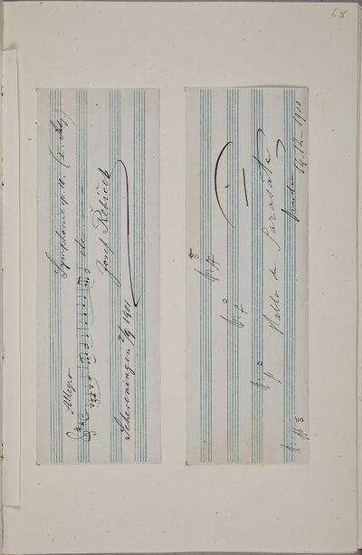 Muziklae bijdrage / van Pablo de Sarasate (1844-1908), violist en componist, voor het autografenalbum van Rudolf Hugo Driessen (1873-1946) en Caroline Driessen-Kleyn (1883-1938)