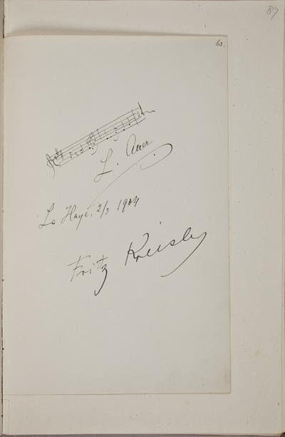 Handtekening / van Fritz Kreisler (1875-1962), violist, in het autografenalbum van Rudolf Hugo Driessen (1873-1946) en Caroline Driessen-Kleyn (1883-1938)