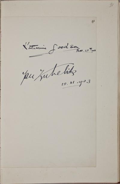 Handtekening / van Katharine Goodson (1872-1958), pianiste, in het autografenalbum van Rudolf Hugo Driessen (1873-1946) en Caroline Driessen-Kleyn (1883-1938)