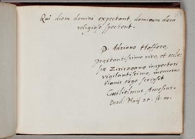 Albuminscriptie van / Guilielmus Amesius (1576-1633), theoloog, hoogleraar te Harderwijk, uit Ipswich, voor Adrianus Hofferus (1589-1644)