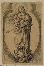 Madonna, staande op de maansikkel, in een stralenkrans