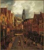 De Grote Houtstraat te Haarlem gezien van de Peuzelaarsteeg naar de Anegang