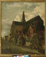 Gezicht op de zuidoostzijde van de Grote of St. Bavokerk te Haarlem en de Oude Groenmarkt