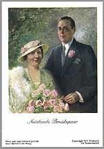 Prentbriefkaart met een geschilderd portret van prinses Juliana en prins Bernhard, gemaakt ter ere van hun huwelijk