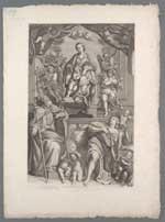 De Heilige Maagd, met S. Petronius en S. Johannes / [getekend door] Franc. Raspantin ; [geëtst door] P. del Pò
