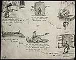 J.H. Brugels (reg. 32704) Dysenteriebarak (barak nr 8) kamp Gloegoer (krijgsgevangenen) bij Medan; zie ook 056.714 (negatieffoto); verhaal in stripvorm (I-VI)