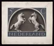 Definitief ontwerp, postzegels Nederland 1943 Germaanse symbolen, Steigerende schimmels