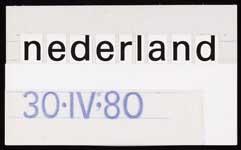 Standmodel voor de belettering van Inhuldigingspostzegel Nederland 1980