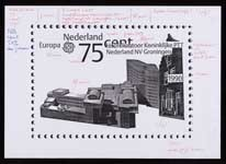 Werktekening voor Europapostzegels Nederland 1990,  Hoofdkantoor Koninklijke PTT Nederland N.V. te Groningen