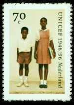 Postzegel Nederland 1996, 50 jaar unicef, Ghanese schoolkinderen