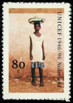 Postzegel Nederland 1996, 50 jaar unicef, Ghanees meisje
