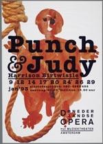 Affiche voor de productie Punch & Judy van de Nederlandse Opera