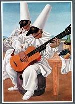 Briefkaart met een afbeelding van twee Pulcinella's met gitaar en fluit