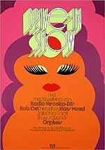 Drive-in show met medewerking van Radio Veronica - dj'sRob Out himself en Hans Mond. Zaterdag 11 april 8 uur 'savonds Orpheus. (...) Aangeboden door de VPF Verenigde Pharmaceutische Fabrieken.
