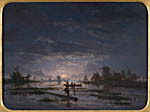 An extensive river scene with fishermen by night