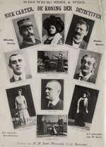 """Toneel. Portretjes op een pagina van de cast van het toneelstuk """"De Koning der Detectiven"""" van Nick Carter onder leiding van M. Spree in de Schouwburg Stoel & Spree, Franschelaan in Amsterdam . 1909. Nederland."""