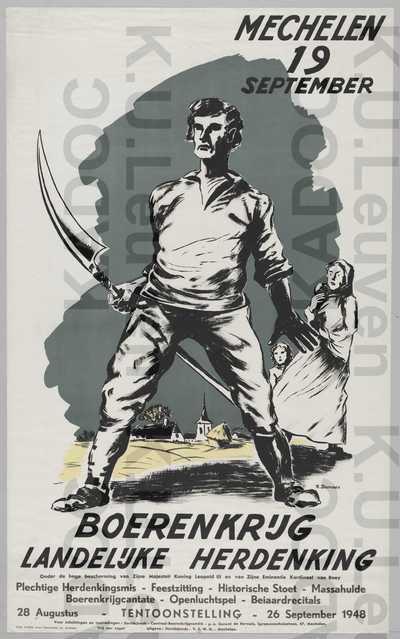 Centraal Boerenkrijgcomité, Davidsfonds, Mechelen, tentoonstelling en landelijke herdenking Boerenkrijg, Mechelen, 28 augustus-26 september 1948 : aankondiging