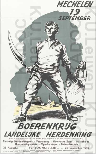 Davidsfonds, landelijke herdenking van de Boerenkrijg op 19 september met tentoonstelling, Mechelen, 28 augustus- 26 september 1948 : aankondiging van het feestprogramma