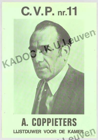 CVP, arrondissement Gent-Eeklo, parlementsverkiezingen van 10 maart 1974 : propaganda voor Alfons Coppieters, met portret en lijstnummer 11