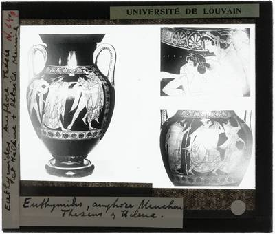 Oud-Grieks aardewerk. Euthymides. Amfora :Vooraanzicht met Theseus ontvoert Korone en twee details