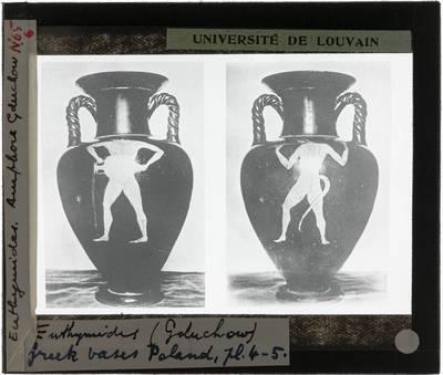 Oud-Grieks aardewerk. Euthymides. Amfora :Voor- en achterzijde met mythologische figuren
