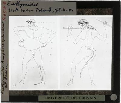 Oud-Grieks aardewerk. Euthymides. Amfora :Details van mythologische figuren