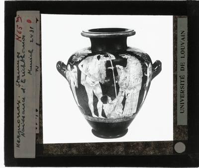 Oud-Grieks aardewerk. Hermonax. Amfora :De geboorte van Erichthonios