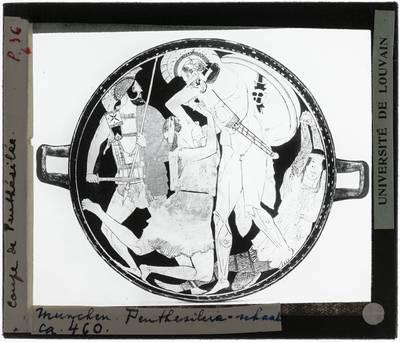 Oud-Grieks aardewerk. Penthesilea painter. Schaal :Binnenkant. Achilles en Penthesilea