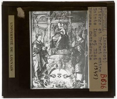 Lanceloot Blondeel. Onze-Lieve-Vrouw met Kind, Heilige Lucas en Heilige Eligius