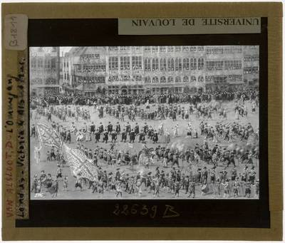 Denis van Alsloot. De Ommeganck van 1615: de parade op de Grote Markt in Brussel :Detail rechterzijde