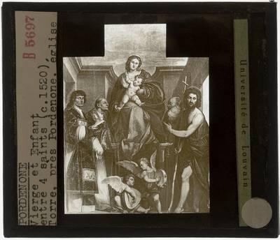 Il Pordenone. Madonna met kind, omgeven door heiligen