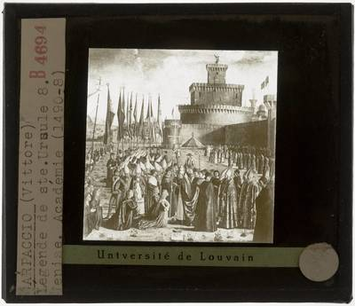 Vittore Carpaccio. Legende van de Heilige Ursula :De ontmoeting van de pelgrims met de paus