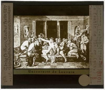 Jacob Carstens. Socrates en Alcibiades op het feest van Agathon