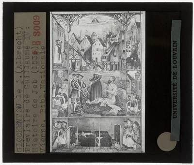 Gebedenboek van Maximiliaan I :Albrecht Glockendon II. Miniatuur Het verhaal van Job