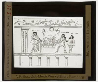 Oud-Grieks aardewerk. Asteas. Vaas :Phlyax-scène