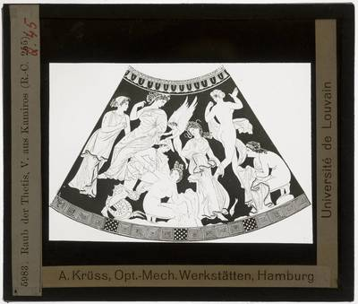 Oud-Grieks aardewerk. Marsyas Painter. Vaas :Perseus en Thetis