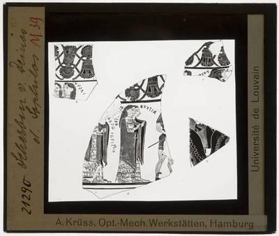 Oud-Grieks aardewerk. Dinos Painter. Sophilos. Fragmenten :Vier scherven met afbeelding van mensen
