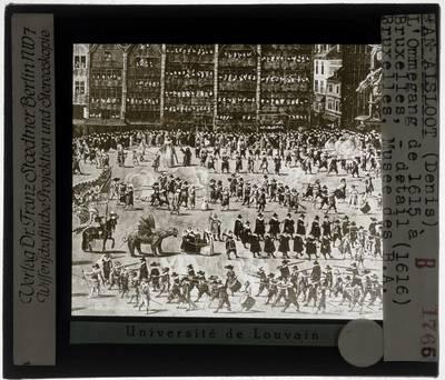 Denis van Alsloot. De Ommeganck van 1615: de parade op de Grote Markt in Brussel :Detail: Links