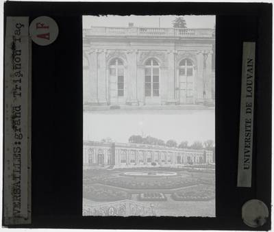 Versailles. Grand Trianon :Exterieur: Detail van gevel en zicht op gevel vanuit de tuin