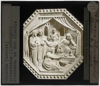 Orcagna. Tabernakel :Detail: Geboorte van Maria