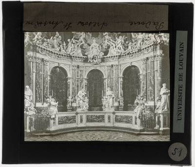 Filippo Parodi (en atelier). Glorie van Heilige Antonius en andere sculpturen in de Cappella del Tesoro