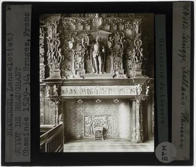 Lanceloot Blondeel. Jean Mone. Schoorsteen van het Brugse Vrije :Detail: Middenpartij met beeld van keizer Karel