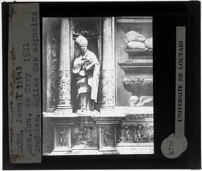 Jean Mone. Grafmonument voor Willem van Croÿ :Detail: Beeld van bisschop
