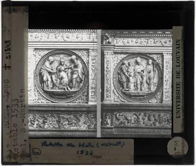 Jean Mone. Sacrementsretabel :Detail: Reliëfmedaillons Biecht en Vormsel