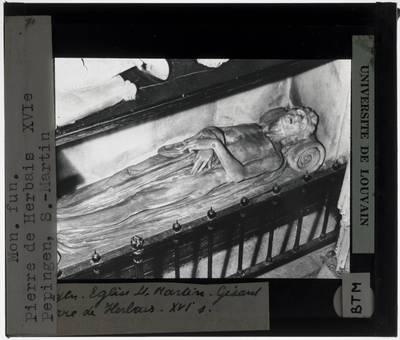 Jean Mone (toegeschreven). Grafmonument voor Pierre D'Herbais II en Henderin d'Immersele :Detail: Onderste gedeelte met gisant