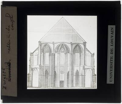 Zwettl-Niederösterreich. Stiftskirche Mariä Himmelfahrt :Doorsnedetekening koor