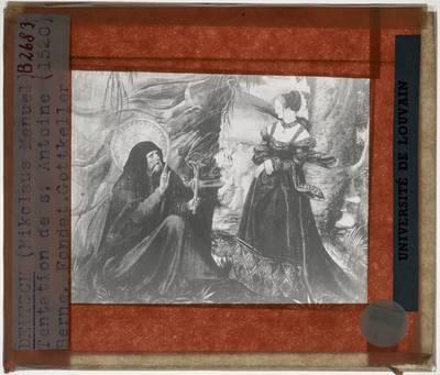 Niklaus Manuel Deutsch. Antoniusaltaar :Paneel links: De verzoeking van de heilige Antonius door een vrouw