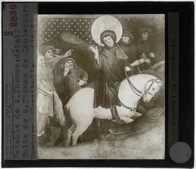 Meister Francke. Thomas-Altaar :Paneel links: Bespotting van Thomas van Canterbury