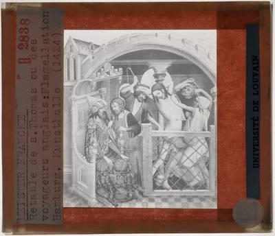 Meister Francke. Thomas-Altaar :Paneel links: Geseling van Christus